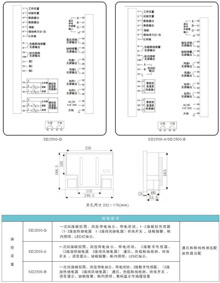外形尺寸及接线端子图